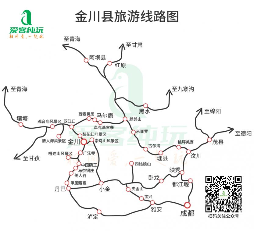 金川旅游线路图