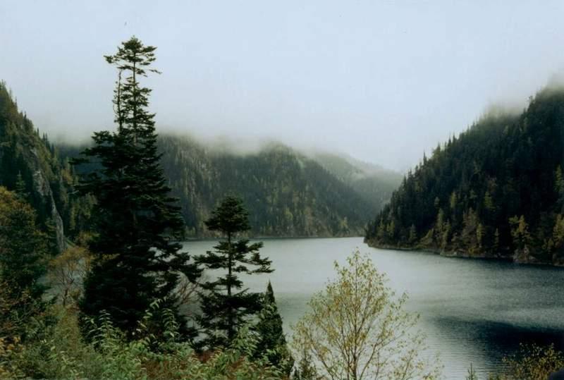 雨雾中的九寨沟