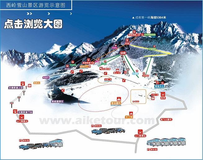 西岭雪山游览示意图