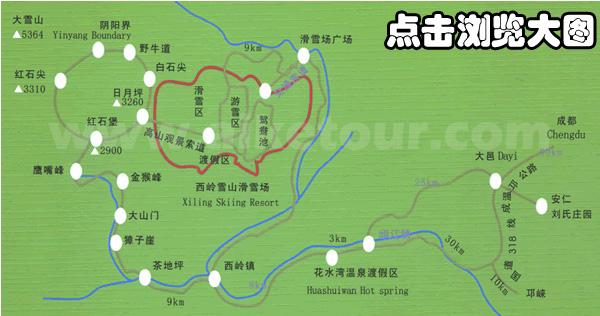 西岭雪山交通地图