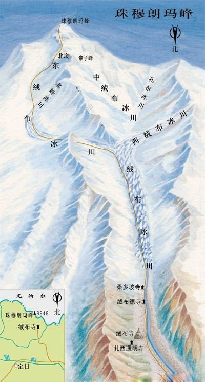 珠穆朗玛峰景点地图