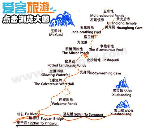 黄龙景区景点分布地图
