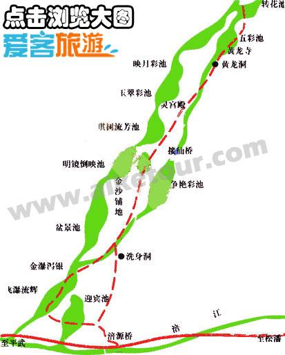 黄龙景区旅游地图